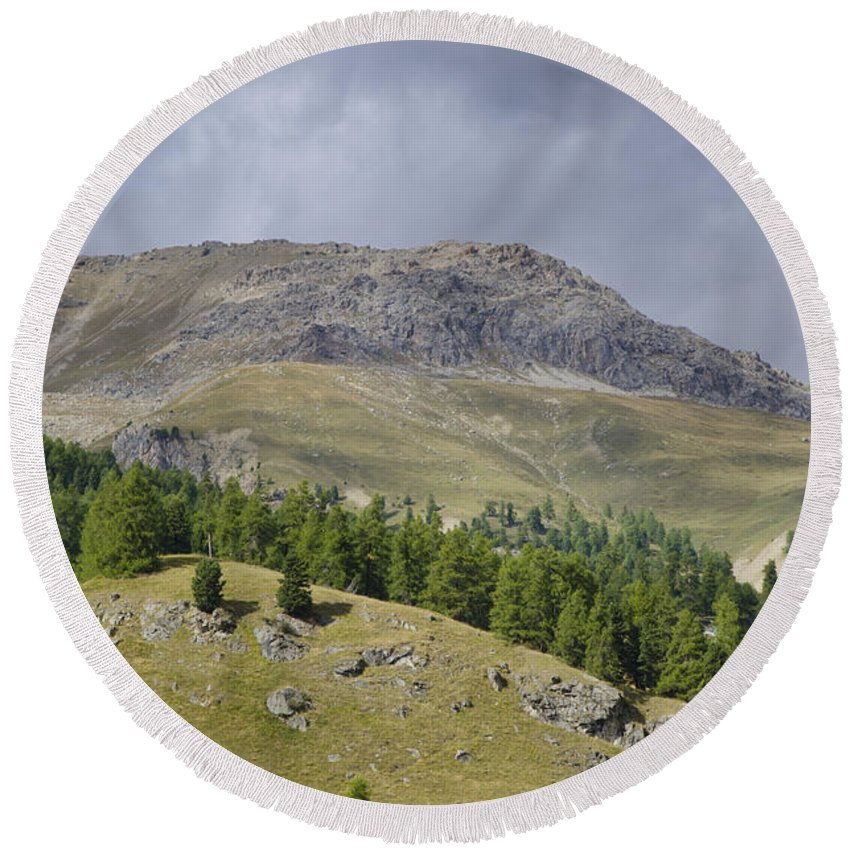 St Moritz Round Beach Towel featuring the photograph Mountain In St Moritz by Mats Silvan