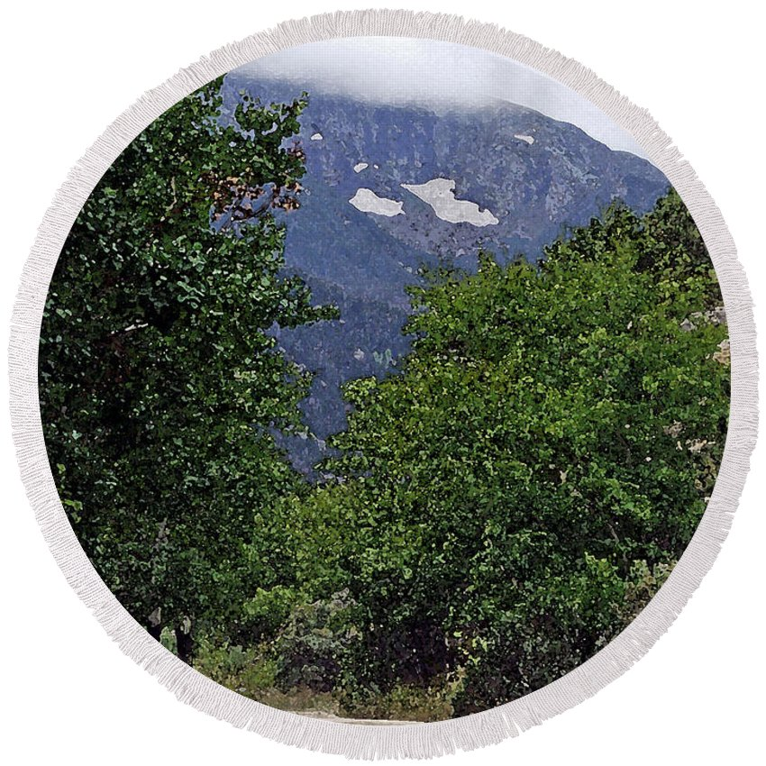 Mountain Round Beach Towel featuring the photograph Mountain Road by Brenda Hagenson