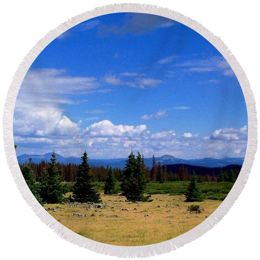 Landscape Round Beach Towel featuring the photograph Mountain Top Landscape II by Samantha Glaze