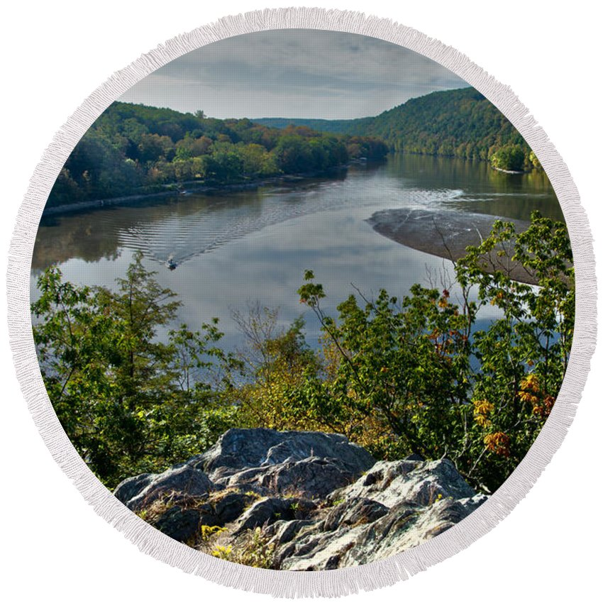 Landscape Round Beach Towel featuring the photograph Mountain View by Karol Livote