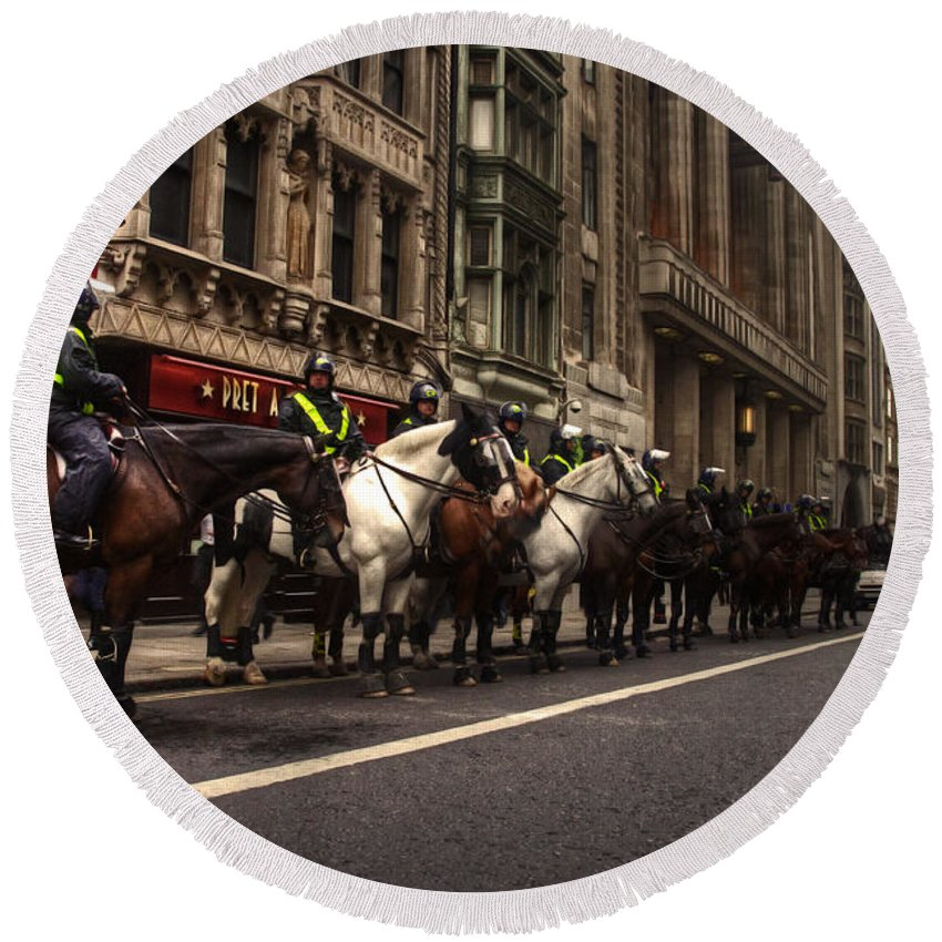 Mounted Round Beach Towel featuring the photograph Mounted Police by Rob Hawkins