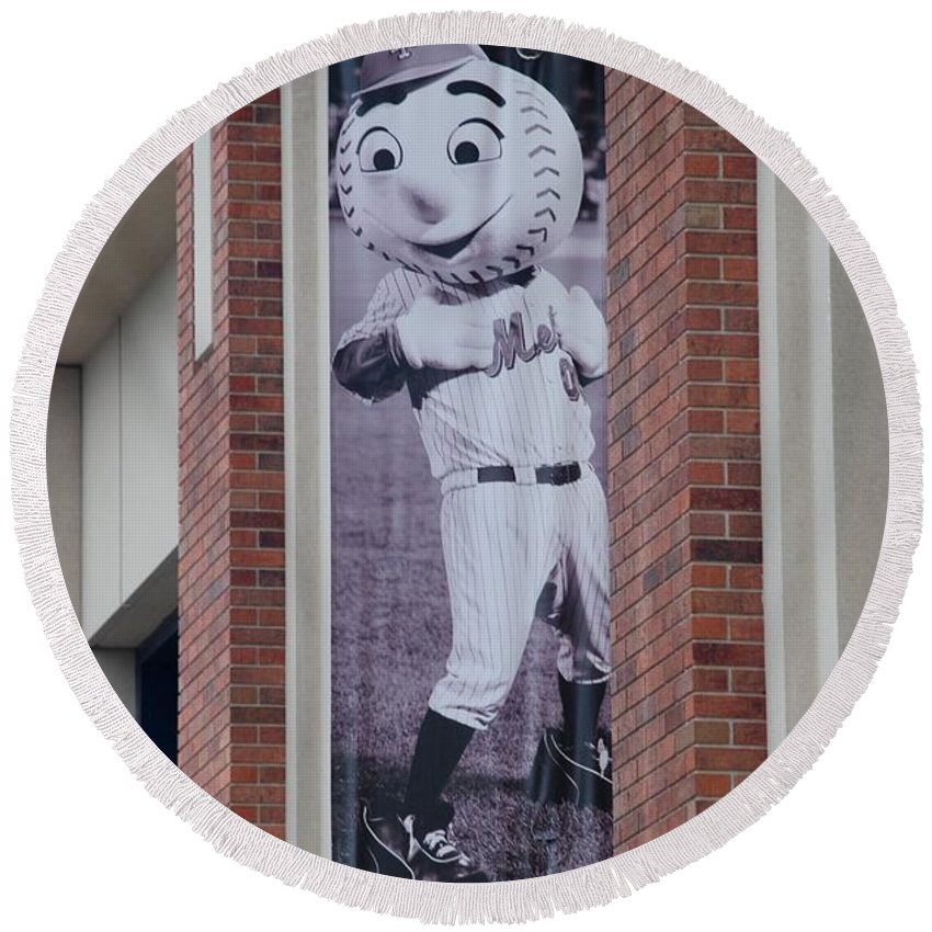 Shea Stadium Round Beach Towel featuring the photograph Mr Met by Rob Hans