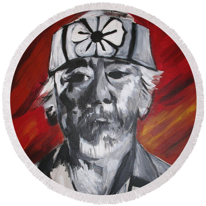 Portrait Round Beach Towel featuring the painting Mr. Miyagi by Kate Fortin