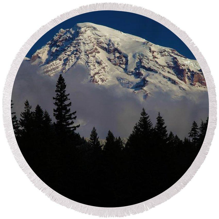Mt Rainier Clouds Round Beach Towel featuring the photograph Mt. Rainier by Adam Jewell