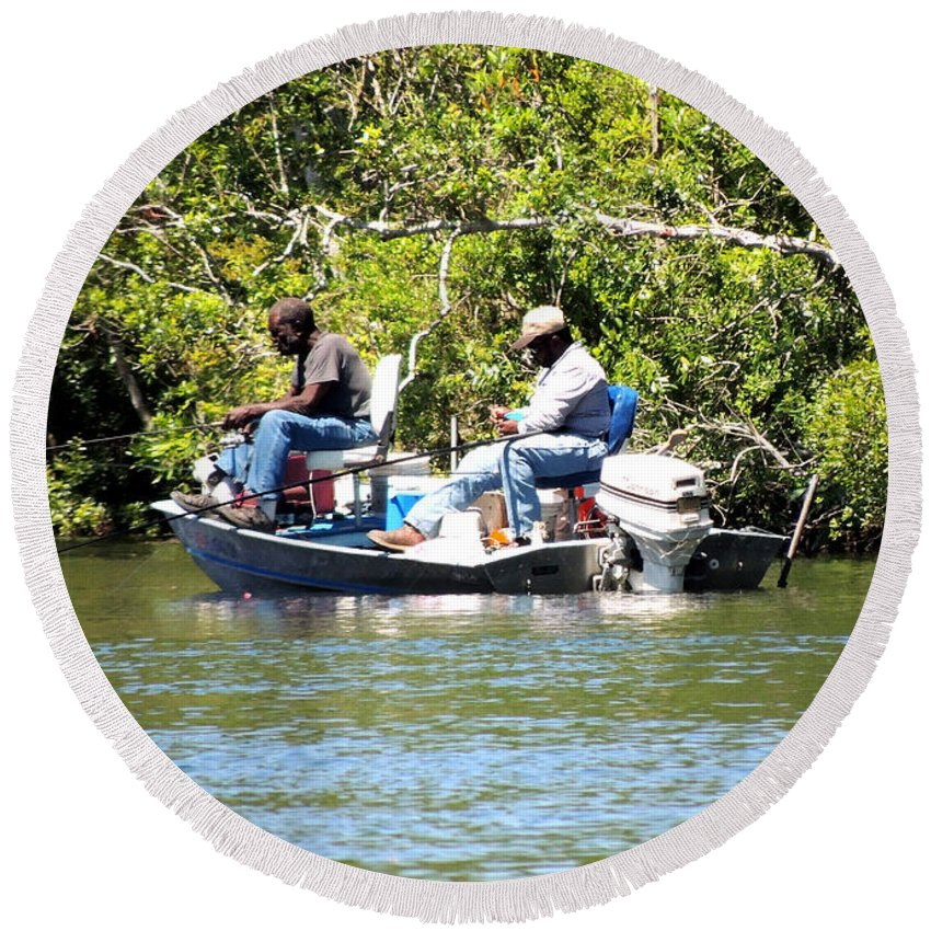 Taylor County Fl Round Beach Towel featuring the photograph Mullet Fishing by Marilyn Holkham