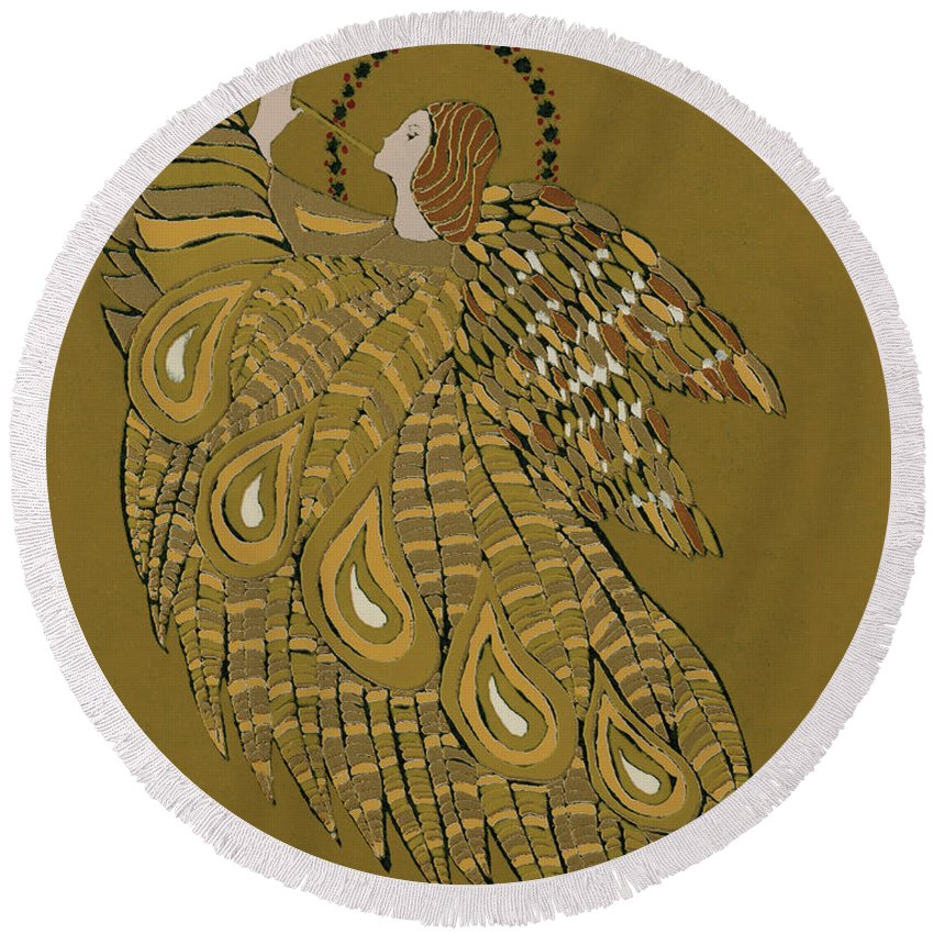 Trumpet Round Beach Towel featuring the painting Musical Angel by Gillian Lawson