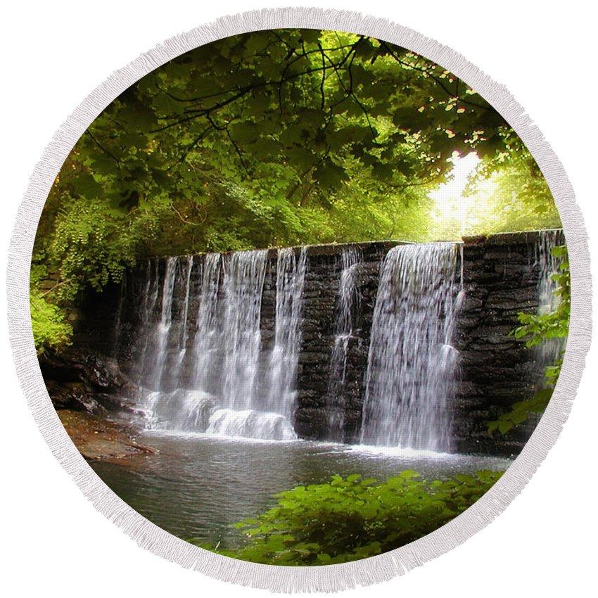 My Beautiful Waterfall Round Beach Towel featuring the photograph My Beautiful Waterfall by Bill Cannon