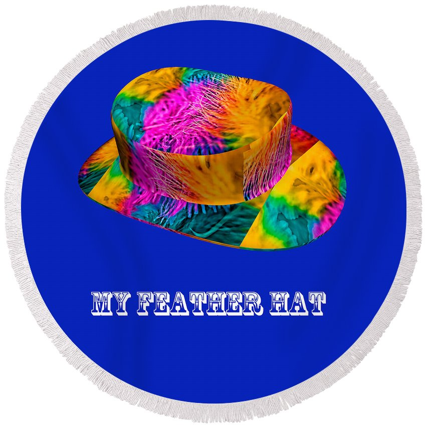 Marabou Feather Round Beach Towel featuring the photograph My Feather Hat by Steve Purnell