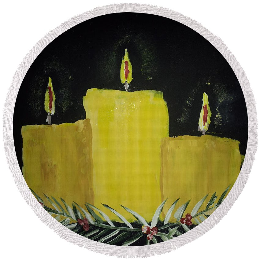 Candles Round Beach Towel featuring the painting My First Painting by Donna Brown