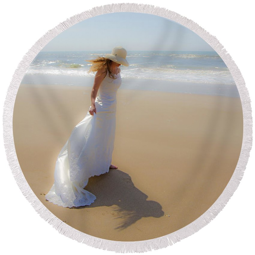Topsail Round Beach Towel featuring the photograph My Shadow Follows Me by Betsy Knapp