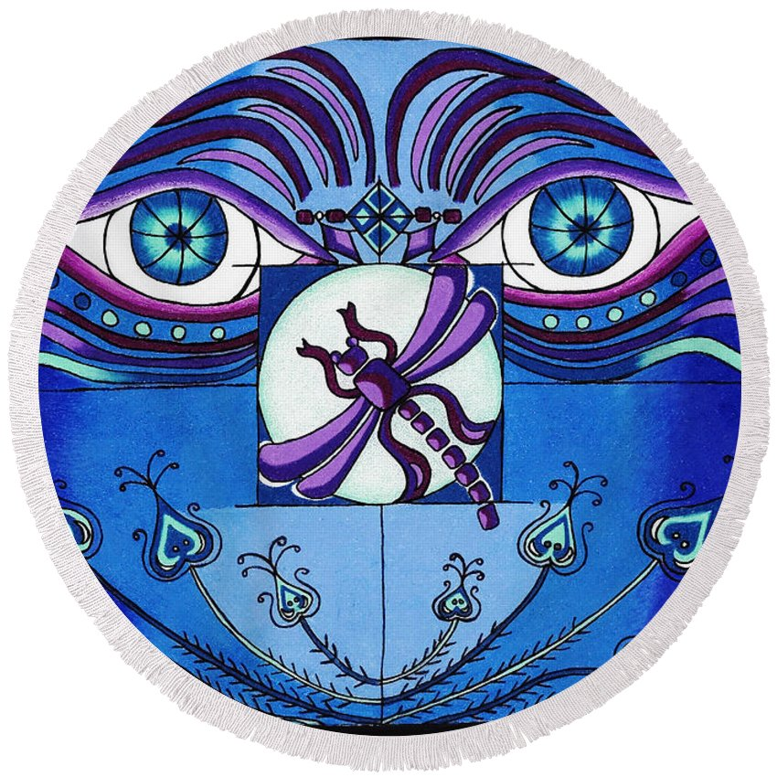 Eyes Round Beach Towel featuring the digital art My Soulful Eyes by Teri Schuster