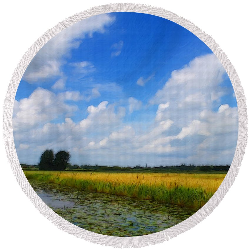 Germany East Frisia Open Range Cloud Clouds Landscape Water River Lily Waterlily Grain Round Beach Towel featuring the painting My Wonderful Eastfrisia by Steve K