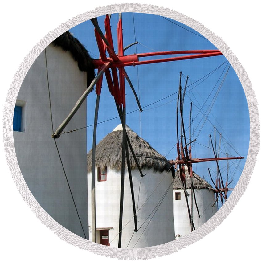 Mykonos Round Beach Towel featuring the photograph Mykonos Windmills by Carla Parris