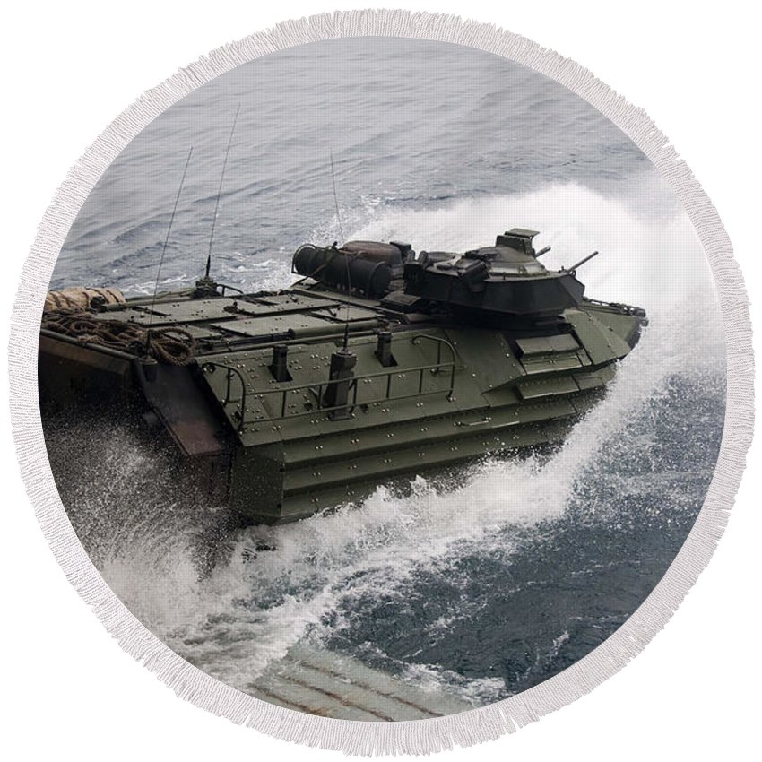 Us Navy Round Beach Towel featuring the photograph N Amphibious Assault Vehicle Departs by Stocktrek Images