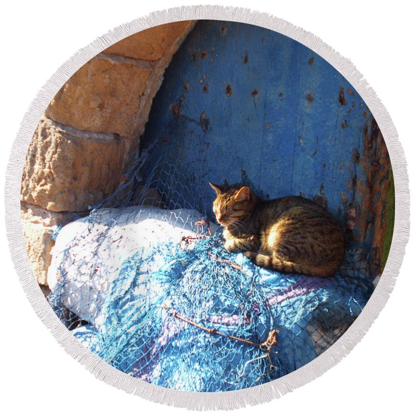 Travel Round Beach Towel featuring the photograph Nap After The Meal by Miki De Goodaboom