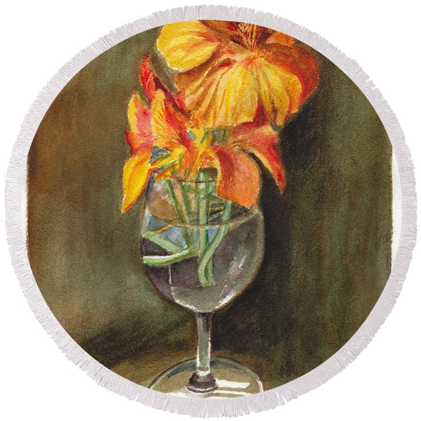 Floral Round Beach Towel featuring the painting Nasturtiums by Dai Wynn