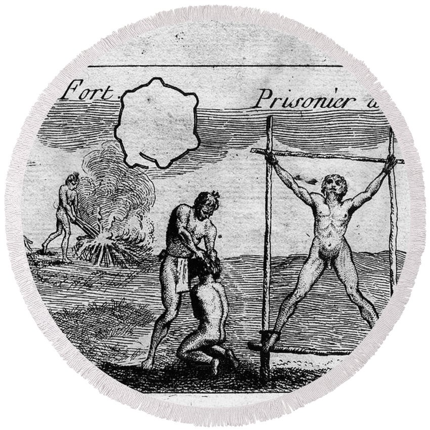 1725 Round Beach Towel featuring the photograph Natchez Punishment, C1725 by Granger