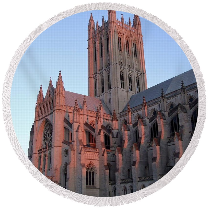National Cathedral Round Beach Towel featuring the photograph National Cathedral At Sunset by Susan Wyman