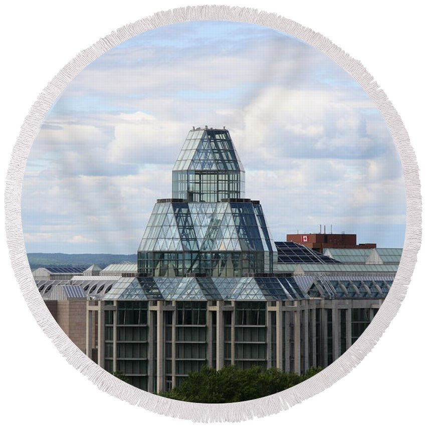 National Gallery Of Canada Round Beach Towel featuring the photograph National Gallery Of Canada - Ottawa by Christiane Schulze Art And Photography