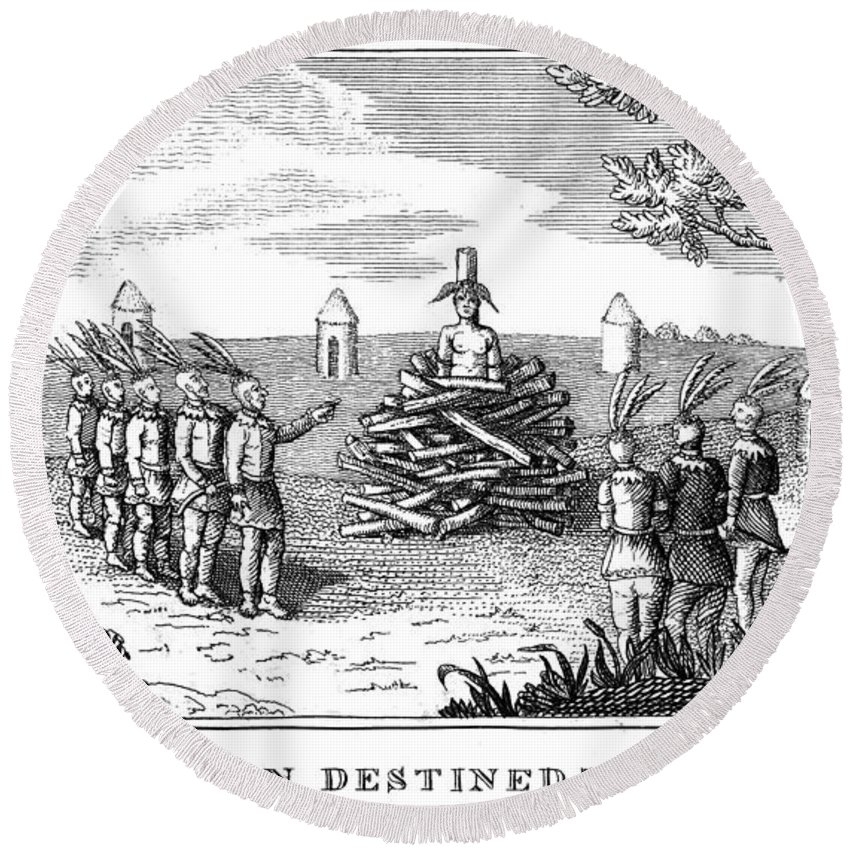 1813 Round Beach Towel featuring the photograph Native American Punishment by Granger