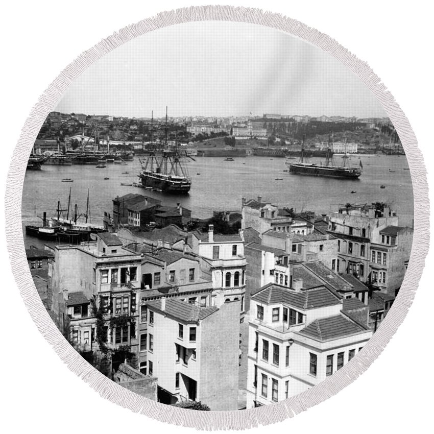 naval Arsenal Round Beach Towel featuring the photograph Naval Arsenal And The Golden Horn - Ottoman Empire - Turkey by International Images