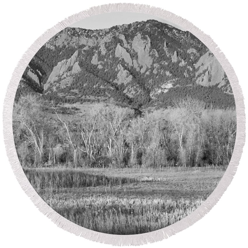 'flatiron' Round Beach Towel featuring the photograph Ncar And Flatiron View Boulder Colorado Bw by James BO Insogna