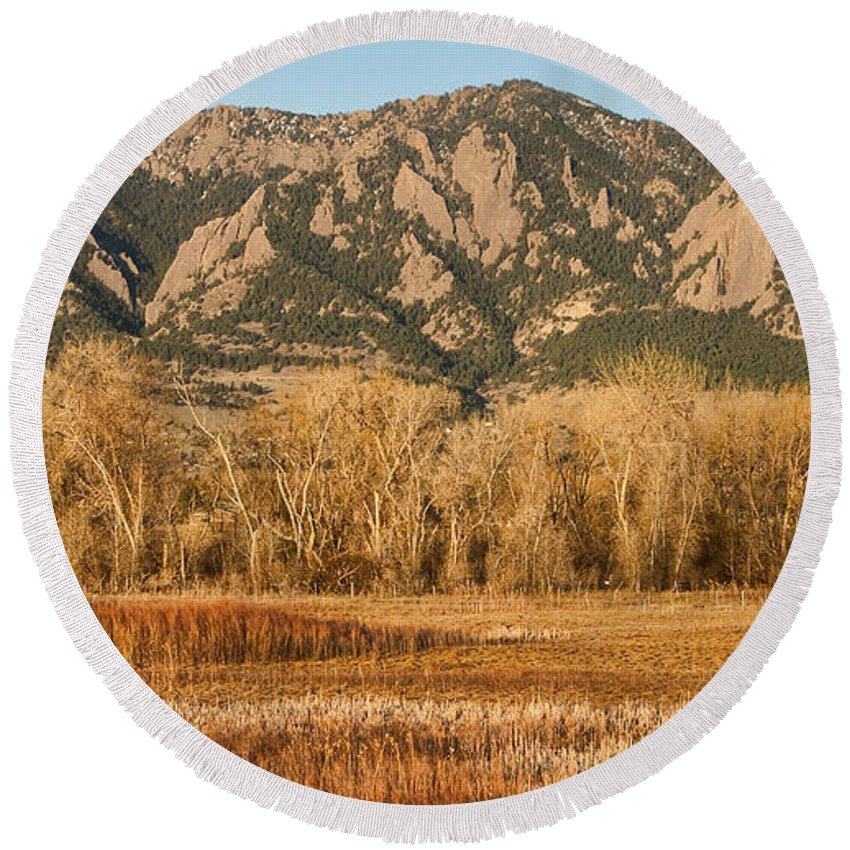 'flatiron' Round Beach Towel featuring the photograph Ncar And Flatiron View Boulder Colorado  by James BO Insogna