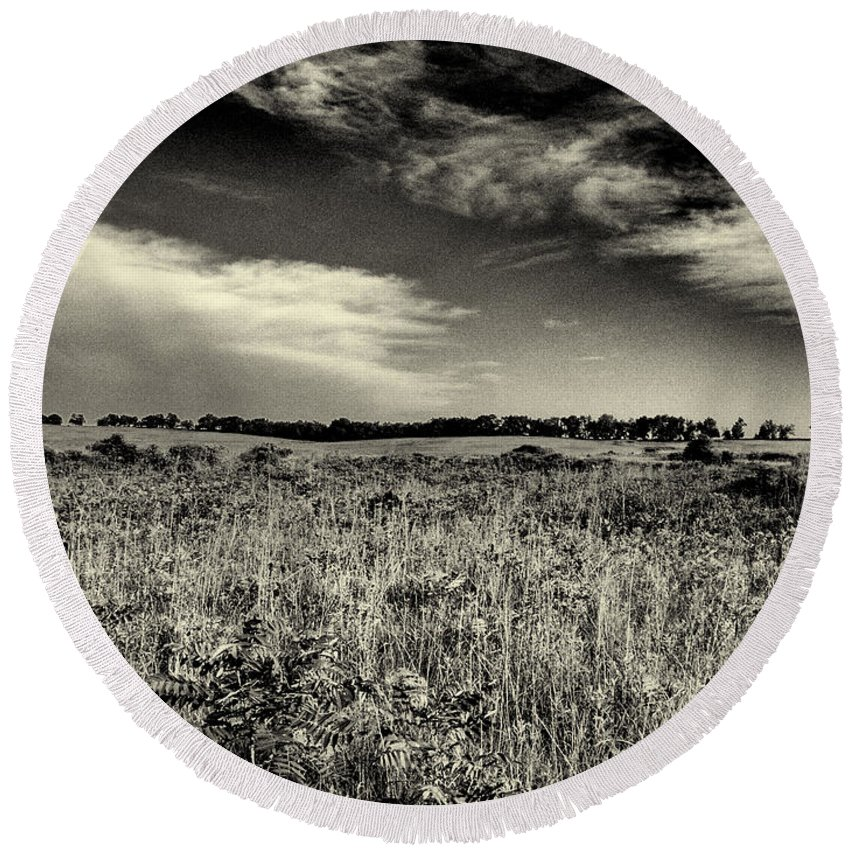 Beatrice Round Beach Towel featuring the photograph Nebraska Prairie Two In Black And White by Joshua House