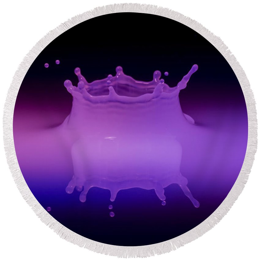 Impact Round Beach Towel featuring the photograph Neon Crown 2 by Nick Field