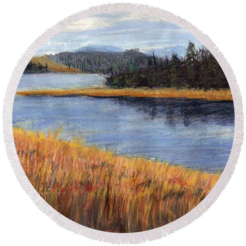 Pastels Round Beach Towel featuring the painting Nestucca River And Bay by Chriss Pagani