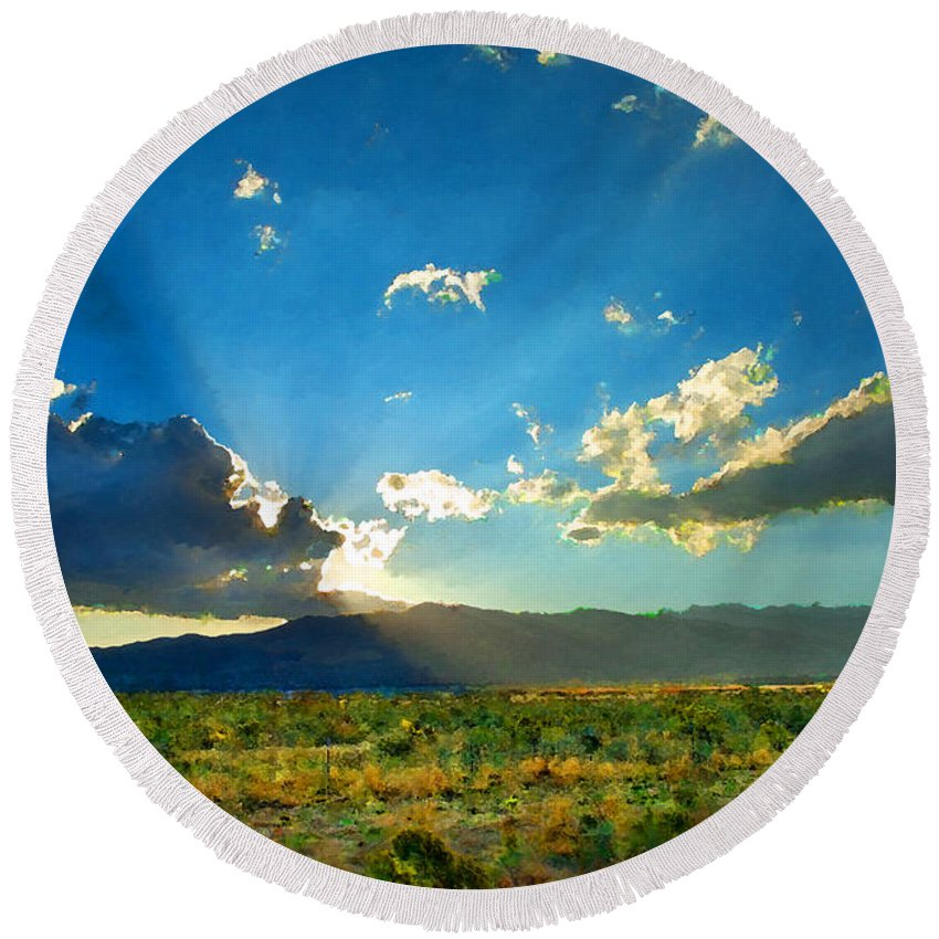 New Mexico Round Beach Towel featuring the photograph New Mexico Desert by Betty LaRue