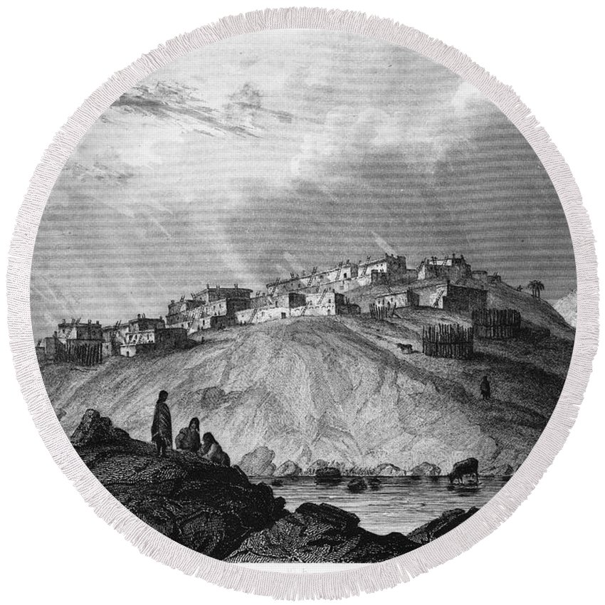 1854 Round Beach Towel featuring the photograph New Mexico: Laguna Pueblo by Granger