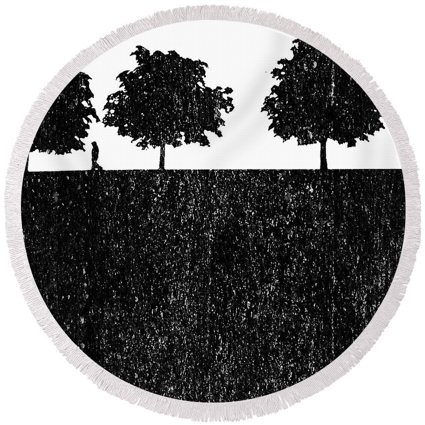 Tree Trees Walk Walker Walking Stone Stoneage Modern Art Grey Black White World Round Beach Towel featuring the painting New Stoneage by Steve K