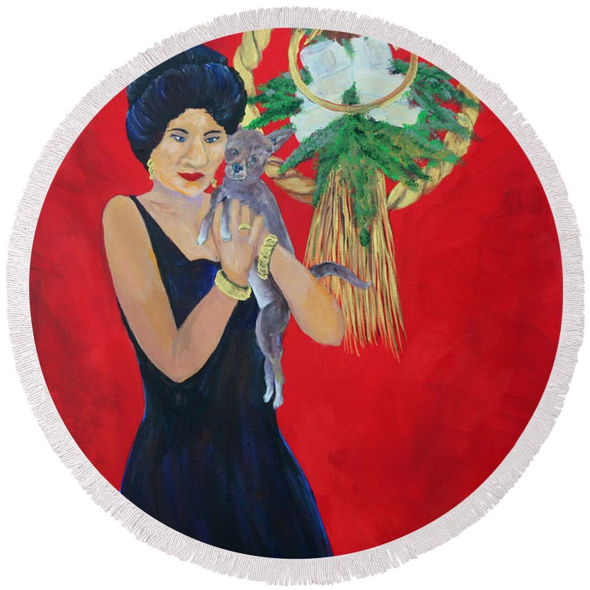 Gail Daley Round Beach Towel featuring the painting New Years Baby by Gail Daley