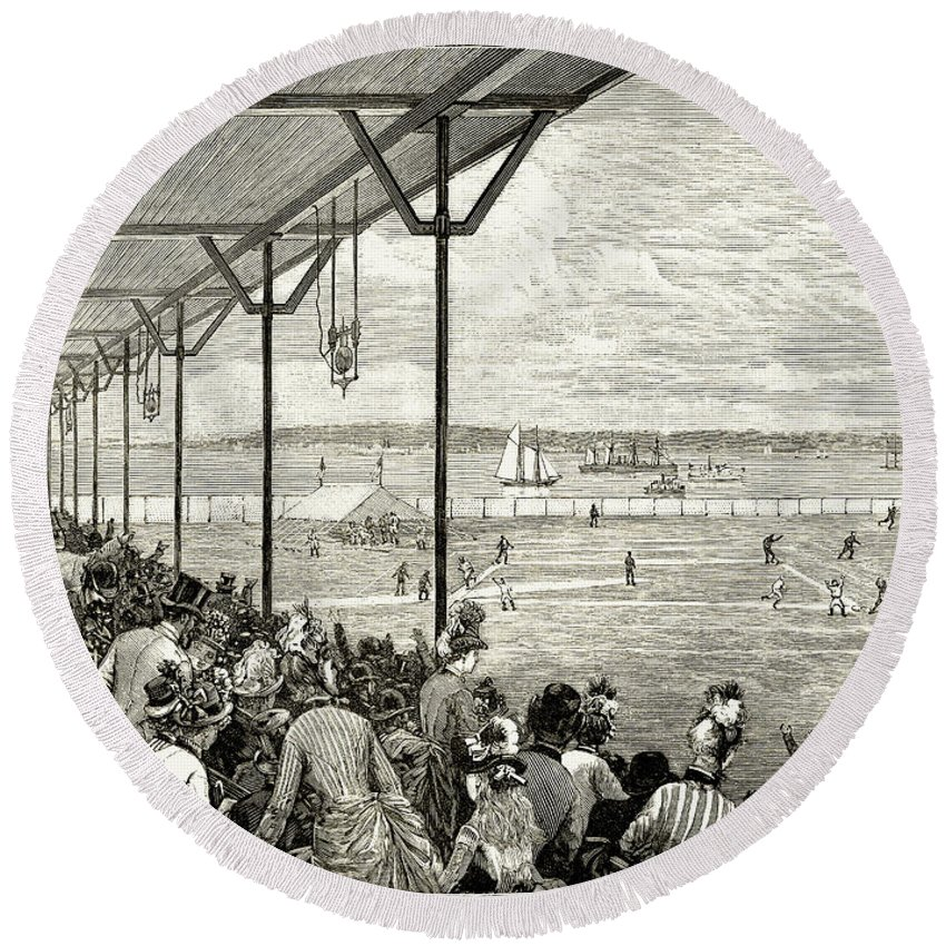 1886 Round Beach Towel featuring the photograph New York: Baseball, 1886 by Granger