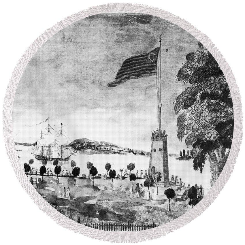 1793 Round Beach Towel featuring the photograph New York: Battery, 1793 by Granger