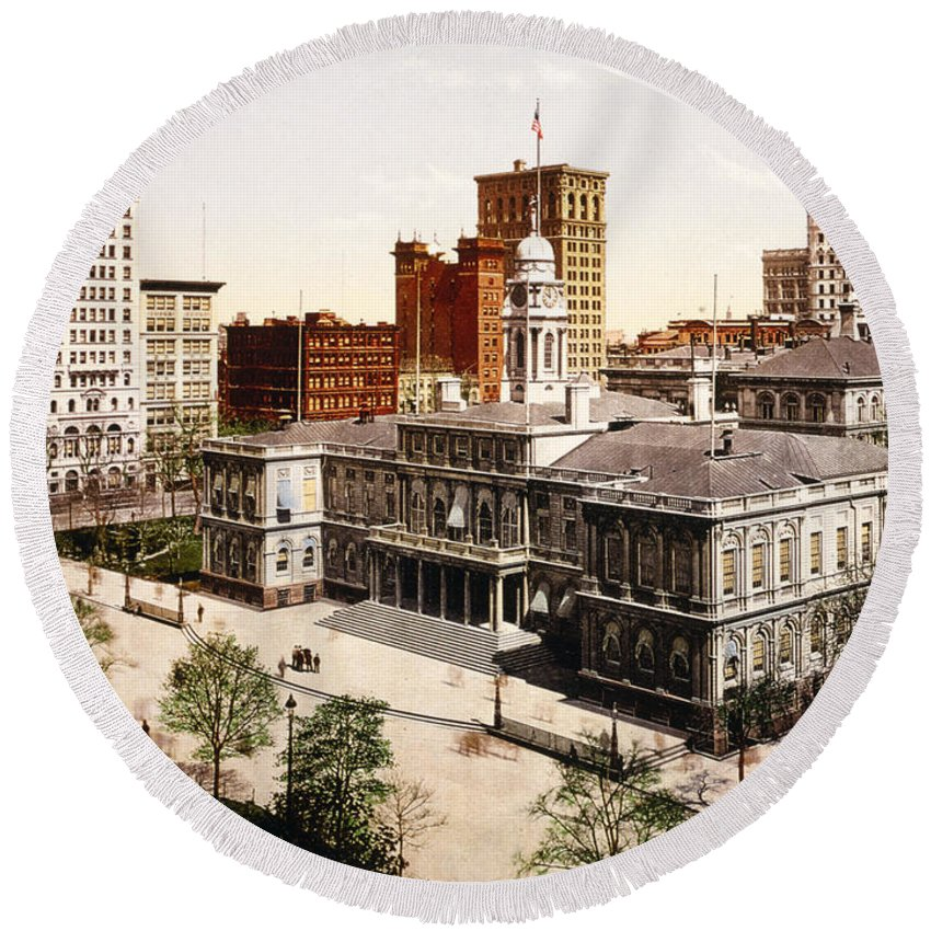 new York City Hall Round Beach Towel featuring the photograph New York City Hall - 1900 by International Images