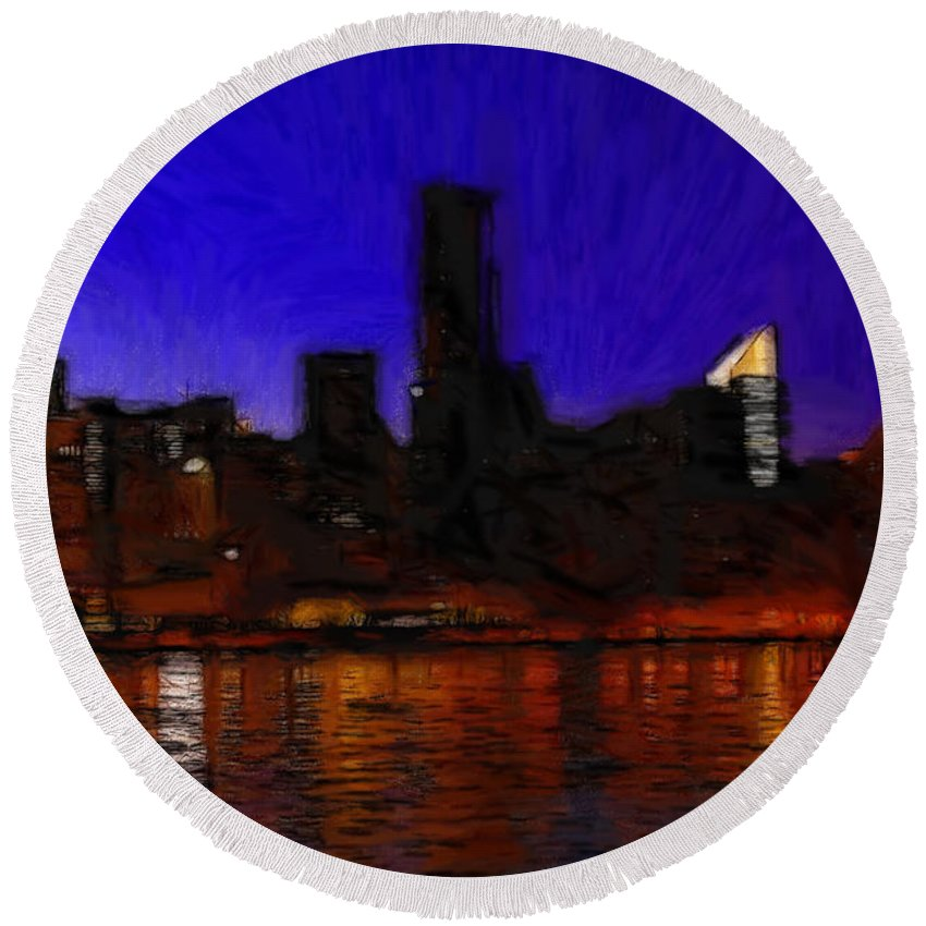 New York Color Colors Abstract River Reflection Cityscape Expressionism Impressionism Drawing Water Lights Night Ny City Round Beach Towel featuring the pastel New York Colors by Steve K