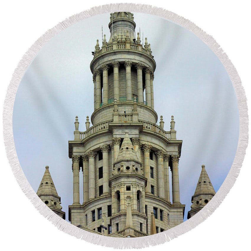 New York Round Beach Towel featuring the photograph New York Municipal Building by Kristin Elmquist