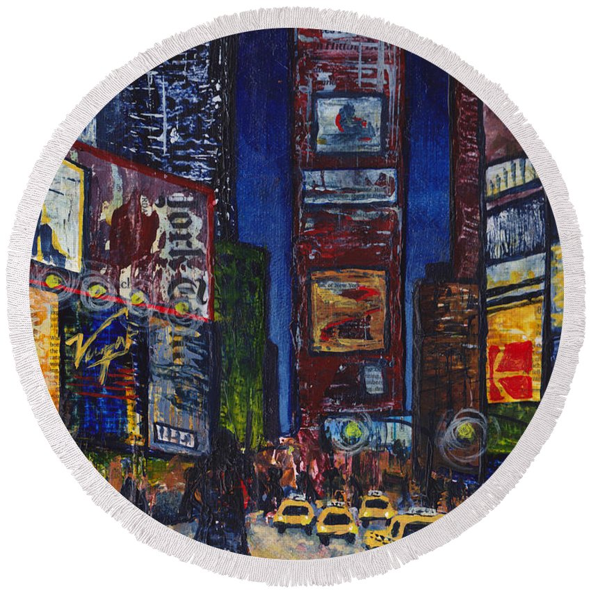 New York Nights Round Beach Towel featuring the mixed media New York Nights by Cindy Johnston