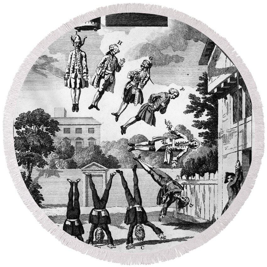 1763 Round Beach Towel featuring the photograph Newton: Cartoon, 1763 by Granger