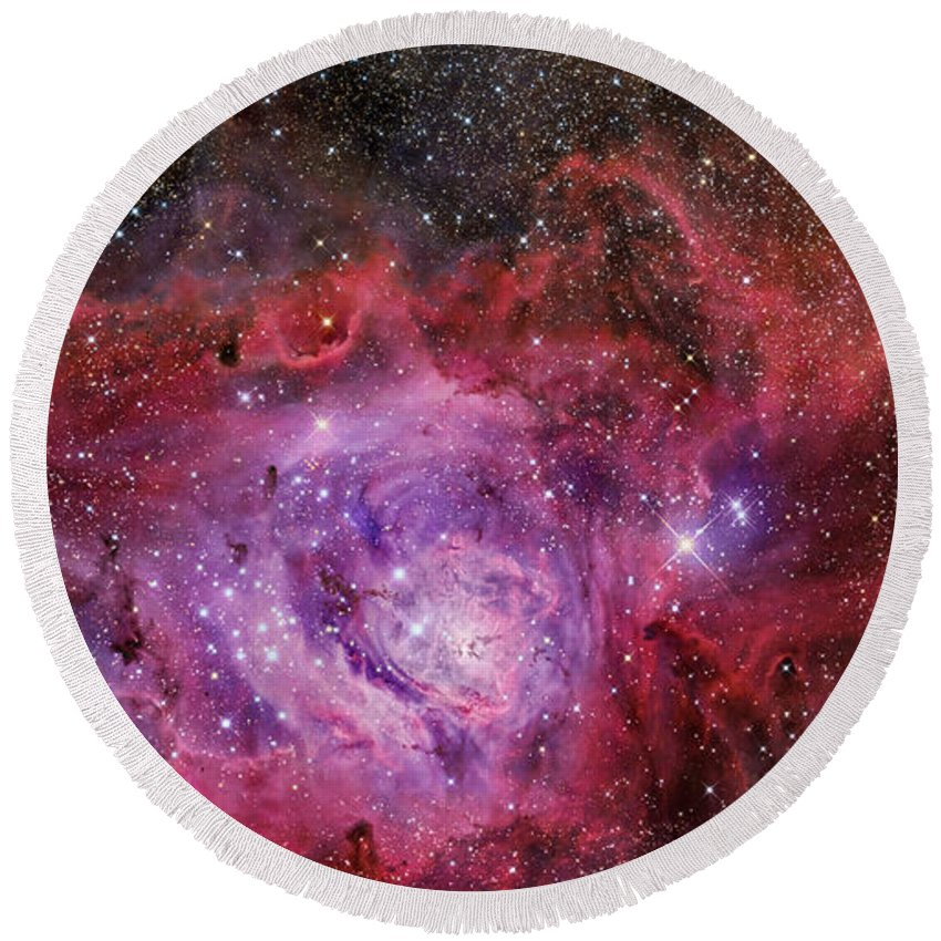 Deep Space Round Beach Towel featuring the photograph Ngc 6523, The Lagoon Nebula by R Jay GaBany
