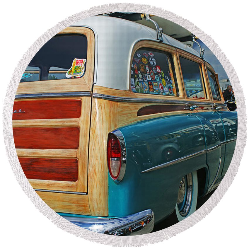 Custom Cars Round Beach Towel featuring the photograph Nice Old Woody by Randy Harris