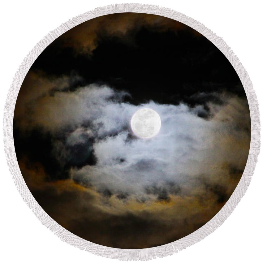 Moon Round Beach Towel featuring the photograph Night Of The Full Moon by Diana Haronis