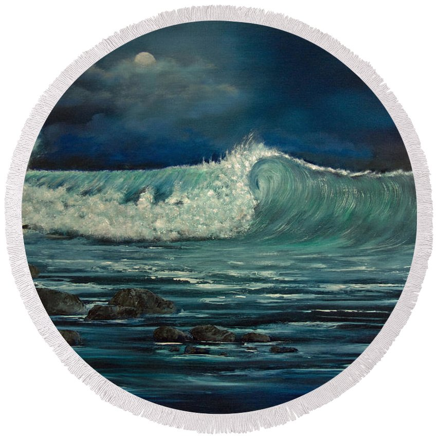 Wave Round Beach Towel featuring the painting Night Wave by Dee Carpenter