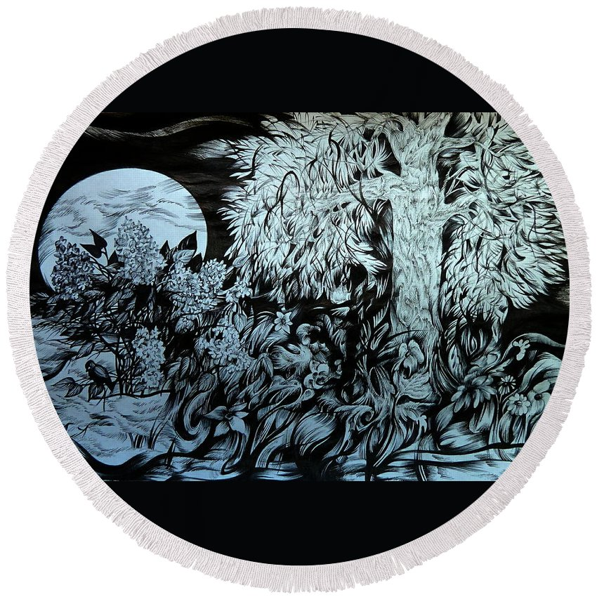 Graphica Round Beach Towel featuring the drawing Nightingale Night by Anna Duyunova
