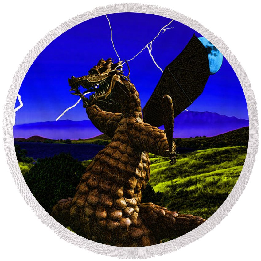 Dragon Round Beach Towel featuring the digital art Nightmare After Midnight by Tommy Anderson