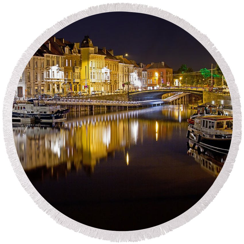 Europe Round Beach Towel featuring the photograph Nighttime Along The River Leie by David Freuthal