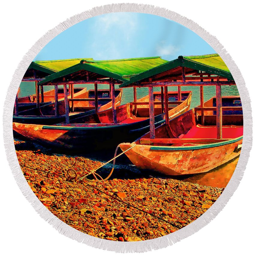 Boats Round Beach Towel featuring the photograph No Fish Today by Ericamaxine Price