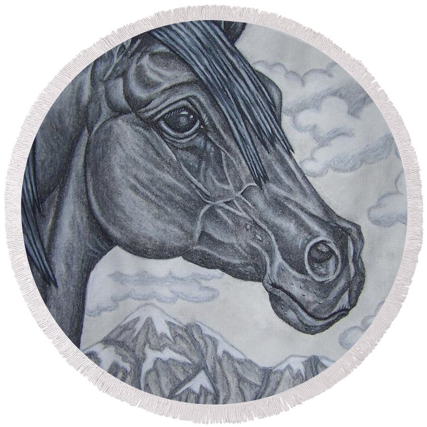 Horse Round Beach Towel featuring the drawing Noble by Jennifer Foslien-Wheeler